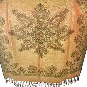 Pashmina Silk Reversible Wrap / Shawl Fringed (a5)